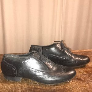 Clarks black leather loafers laces 10